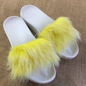 UGG genuine lamb fur royale slides in yellow